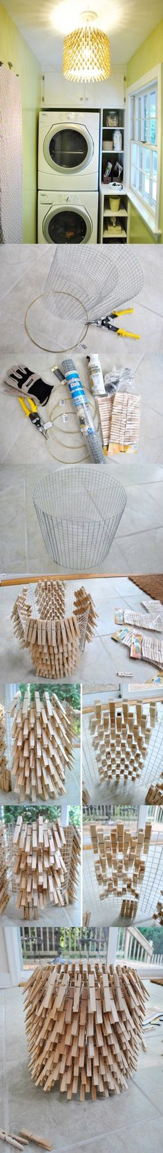 Making a Chandelier from Clothespins #recyclecrafts