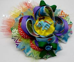"""5"""" Rainbow Dash inspired Boutique stacked bow with tulle, marabou, mini bows and resin center"""