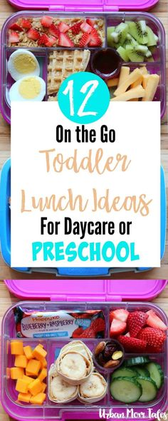12 On the Go Toddler Lunch Ideas for Daycare or Preschool. 12 On the Go Toddler Lunch Ideas for Daycare or Preschool via Toddler lunch ideas for daycare or preschool that can help you put together easy and healthy lunches on the go for your little ones. Kids Lunch For School, Lunch To Go, Lunch Ideas For Toddlers, Preschool Lunch Ideas, Pre School Lunches, Lunch Ideas For Preschoolers, Kid Lunches, Healthy Preschool Snacks, Pre School Snack Ideas