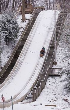 The Chalet in Cleveland Metropark's Mill Stream Run Reservation is home to the tallest and fastest ice chutes and the best toboggan ride in Ohio. Day Trips In Ohio, Weekend Trips, Cleveland Ohio, Columbus Ohio, Cincinnati, Cleveland Rocks, Cool Places To Visit, Places To Travel, Travel Local
