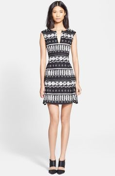 Veronica+Beard+Woodblock+Print+Flounce+Skirt+Dress+available+at+#Nordstrom