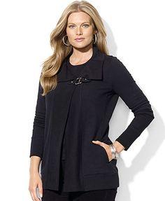 Lauren Ralph Lauren Plus Size Sweater, Long-Sleeve Belted Cardigan