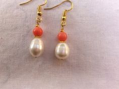 Barque pearl and coral. Hand made dangle earring by MoonBeamsJewels on Etsy