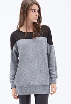 Sheer Insert Heathered Sweater #F21StatementPiece