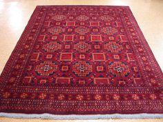 7 x 9 Afghan Turkmen Tribal Hand Knotted Wool Reds Blues New Oriental Rug Carpet #AfghanTurkmenGeometricTribal