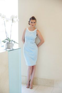 Patterned blue knee length dress, embellished scoop neck with pearl and sequined detail  by Aideen Bodkin