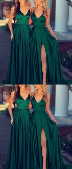 Sexy Spaghetti Straps V-neck Long Satin Prom Dresses 2018 Formal Evening Gowns Bridesmaid Dresses emerald green bridesmaid dresses Emerald Green Bridesmaid Dresses, Green Formal Dresses, Emerald Green Dresses, Satin Bridesmaid Dresses, Prom Dresses 2018, Satin Dresses, Dresses Dresses, Forrest Green Bridesmaid Dresses, Emerald Green Wedding Dress