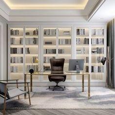 Top 30 Stunning Home Office Design – Luxury Office Designs Home Library Design, Office Interior Design, Office Interiors, Interior Design Living Room, House Design, Office Designs, Law Office Design, Home Office Space, Home Office Decor