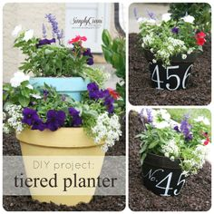 Simply Ciani: DIY tiered terracotta planter & address flower pot would look so wonderful on your porch or steps!