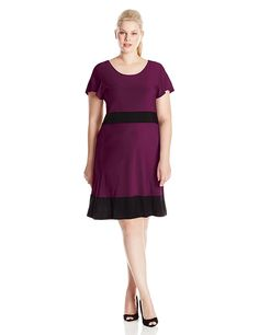 Star Vixen Women's Plus-Size Short Sleeve Colorblock Skater Dress >>> Discover this special product, click the image : Clothing for Plus size