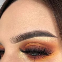 Glow makeup, orange eye makeup, matte look, orange vibe, girl, makeup, cute girls, orange eyeshadow, eye makeup, eyebrows makeup. Credits: unknown.