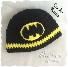CROCHET PATTERN to make a Batman Hat in 8 sizes, baby to adult, and batman symbol applique in 2 sizes, Pdf Format, Instant Download. by HeartspunByWendy on Etsy