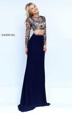 Stone Beaded Embellishments Long Sleeves Navy 2016 Long Prom Dresses Sherri Hill 50097 Two Piece