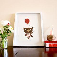 Birthday Bear  8 x 10 Art Print by milkandcookies on Etsy, $35.00
