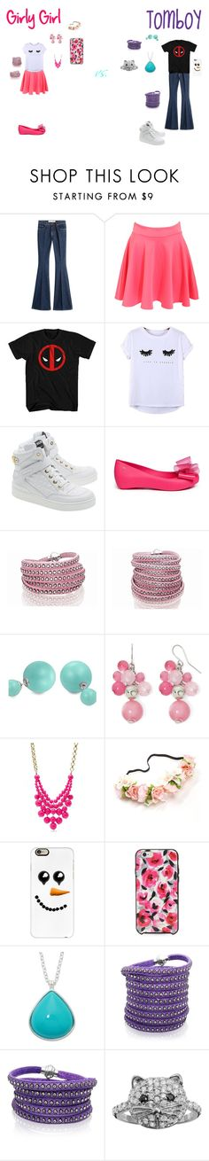 """""""Girly Girl vs. Tomboy: Supermarket Edition"""" by sierra-ivy on Polyvore featuring dVb Victoria Beckham, Pilot, Chicnova Fashion, Moschino, Melissa, Sif Jakobs Jewellery, Bling Jewelry, Mixit, FOSSIL and Casetify"""