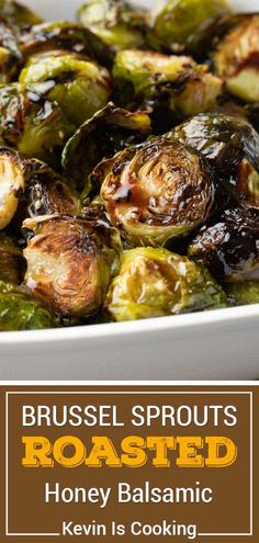 These beautifully caramelized roasted Brussels sprouts get lots of flavor after roasting with a toss in balsamic vinegar and honey. Will convert any hater! Honey Balsamic Brussel Sprouts, Caramelized Brussel Sprouts, Garlic Brussel Sprouts, Roasted Sprouts, Brussels Sprouts, Healthy Vegetable Recipes, Sprout Recipes, Vegetarian Recipes, Cooking Recipes
