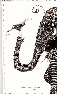 Illustration elephant and bird Art Prints by by pinkflamingo61, $10.00