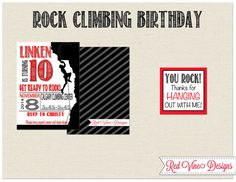 Rock Climbing Invitation and Thank you Tag by DesignsRedVine