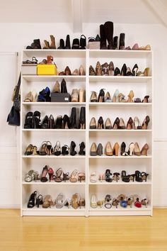 Great shoe storage for your closet - bookshelves painted and anchored to each other and wall (for stability)