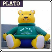 Giant inflatable teddy bear for adults/plastic teddy bear animal for decoration