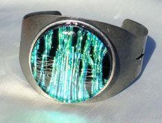 Emerald Dichroic Cuff Bracelet by RoxysJewelsBeyond on Etsy, $20.00  SOLD
