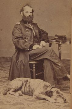 1860's CIVIL WAR UNION GENERAL WITH HIS DOG ALBUMEN CDV PHOTO GREAT RELAXED POSE | eBay