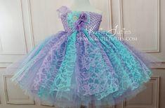 Aqua and Lavender Lace Tutu Dress flower girl by KutieTuties