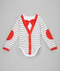 Look at this #zulilyfind! Red & Gray Stripe Cardigan Bodysuit - Infant #zulilyfinds