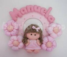 Enfeite Porta Maternidade Boneca Rosa | Bolinha de Pano | 1C54E0 - Elo7