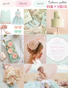 blush and turquoise wedding color | Blush, soft pink & mint wedding colour mood board | FAB Mood ...