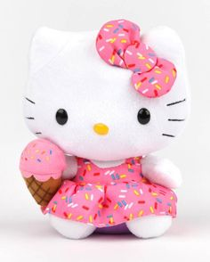 Who's for sprinkles? #HelloKitty looks so cute dressed up with yummy ice cream.