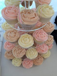 Lets be candid. Wedding Shower Cupcakes, Baby Shower Cupcakes For Girls, Bridal Shower Cupcakes, Diy Wedding Cake, Floral Wedding Cakes, Girl Baby Shower Decorations, Wedding Cake Designs, Wedding Desserts, Birthday Cupcakes