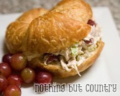 Chicken Salad Croissants with grapes and cashews