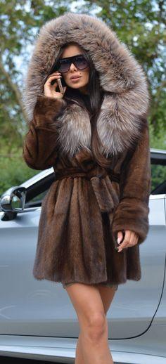 NEW BROWN SAGA MINK FUR COAT FOX HOOD CLASS- SABLE CHINCHILLA LONG JACKET SILVER | eBay