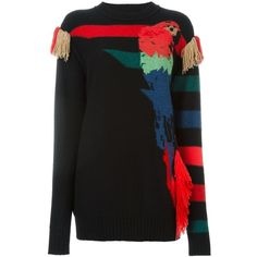 Sonia Rykiel Parrot Intarsia Sweater ($1,013) ❤ liked on Polyvore featuring tops, sweaters, black, black sweater, intarsia sweater, sonia rykiel, black cashmere sweater and sonia rykiel sweaters