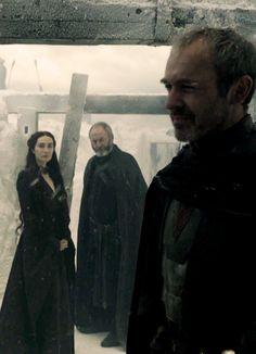 Stannis Baratheon, Melisandre and Davos Seaworth, Game of Thrones, Season 5.