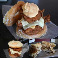 A KFC Double Down sandwiched between two glazed donuts.