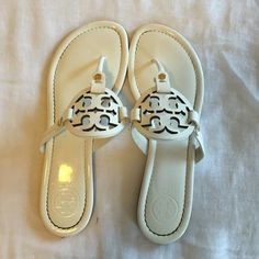 Tory Burch Miller Sandal White leather patent. Great condition! Tory Burch Shoes Sandals