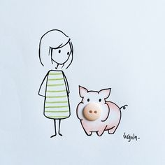 Virgola by Virginia Di Giorgio - About herself, Virginia writes she is ironic, curious, distracted, living with a smile on her face but an inner anxiety. Amazing Drawings, Cute Drawings, Doodle Art, Creative Artwork, Arte Floral, Medieval Art, Simple Art, Art Plastique, In Kindergarten
