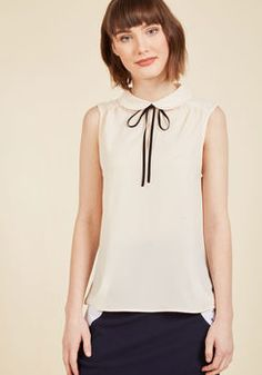 Feedback At It Sleeveless Top in Cream