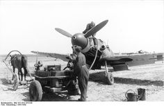 German Bf 109 refueling in Russia, 1941-1942; note horse-drawn fuel tank.