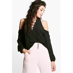 Boohoo Molly Lace Up Cold Shoulder Shirt ($30) ❤ liked on Polyvore featuring tops, black, lace up crop top, long-sleeve crop tops, long sleeve shirts, crop top and long-sleeve shirt