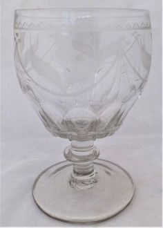 Set Four Georgian Cut Glass Port Wine Glasses Bucket Bowled Antique c 1825