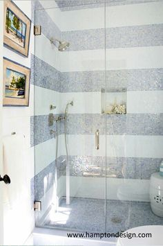 Striped tile bathroom