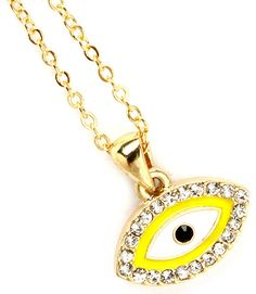 """This necklace has a pendant shaped like an eye surrounded by clear, crystal studs. The pendant is enamel construction and approximately 10mm. The necklace is nickel and lead compliant. Size: 18"""" Long - Color: Yellow/Gold $10.99"""