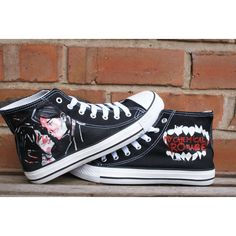 My Chemical Romance hand painted canvas high tops, made to order. ($45) ❤ liked on Polyvore featuring shoes, sneakers, canvas shoes, canvas footwear, high top trainers, hi top canvas sneakers and high top canvas shoes