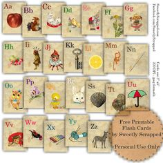 Free printable vintage flash cards. Love these! #ABC #printable