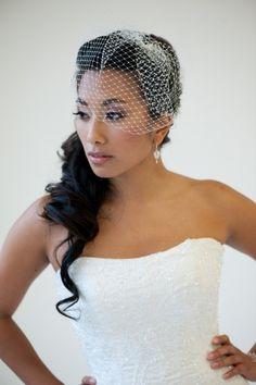 Birdcage Veil, 9 Inch Birdcage Veil, Wedding Veil, Short Birdcage Veil - KAREN. $32.00, via Etsy.