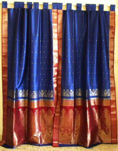 Doing a little research for a project when I came across these curtains made from Indian, saris. I'm not sure about this sari, but think abo. Indian Curtains, Bohemian Curtains, Silk Curtains, Hanging Curtains, Colorful Curtains, Bohemian Fabric, Ethnic Home Decor, Indian Home Decor, Indian Diy