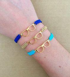 Gold Glasses Connector Friendship Macrame Bracelet by IzouBijoux